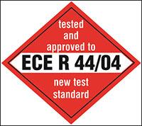 Соответствует европейскому стандарту ECE R44 / 04.